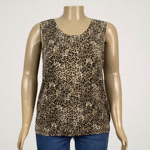 Emma James Animal Leopard Print Knit Tank Top PLUS